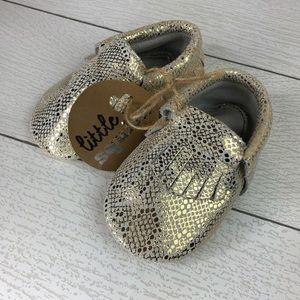 Other - Gold & White Snakeskin Metallic Baby Moccasins